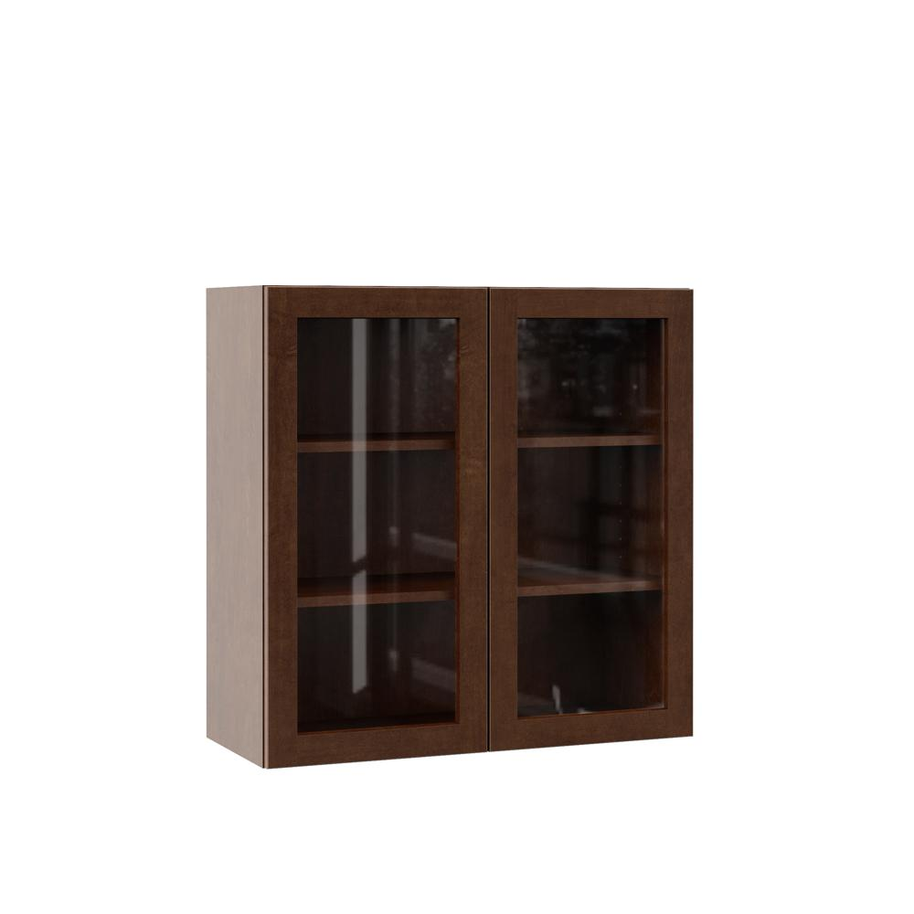 Hampton Bay Designer Series Soleste Assembled 30x30x12 in. Wall Kitchen  Cabinet with Glass Doors in Spice