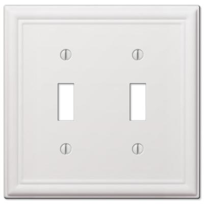Ascher 2 Gang Toggle Steel Wall Plate - White