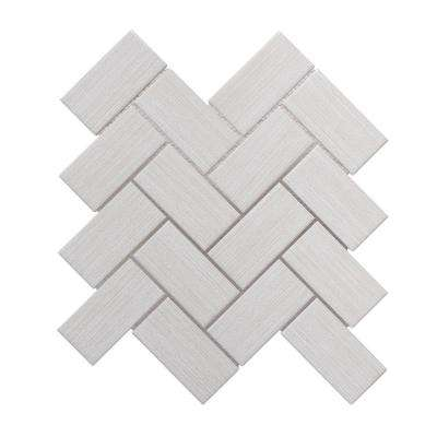 Linen Breeze Blue Herringbone 11.5 in. x 11.875 in. x 8mm Ceramic Mosaic Tile
