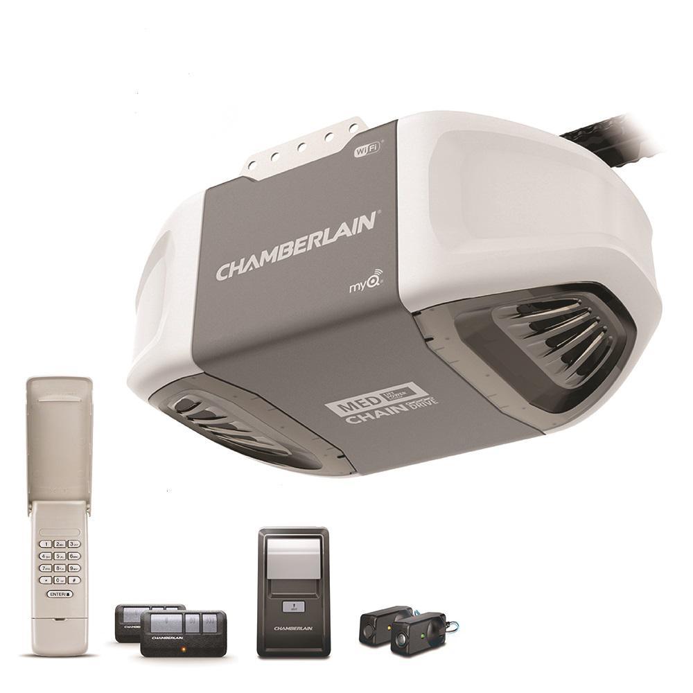 Chamberlain 1 2 Hp Ac Chain Drive Smart Garage Door Opener With Medium Lifting Power C450 The Home Depot