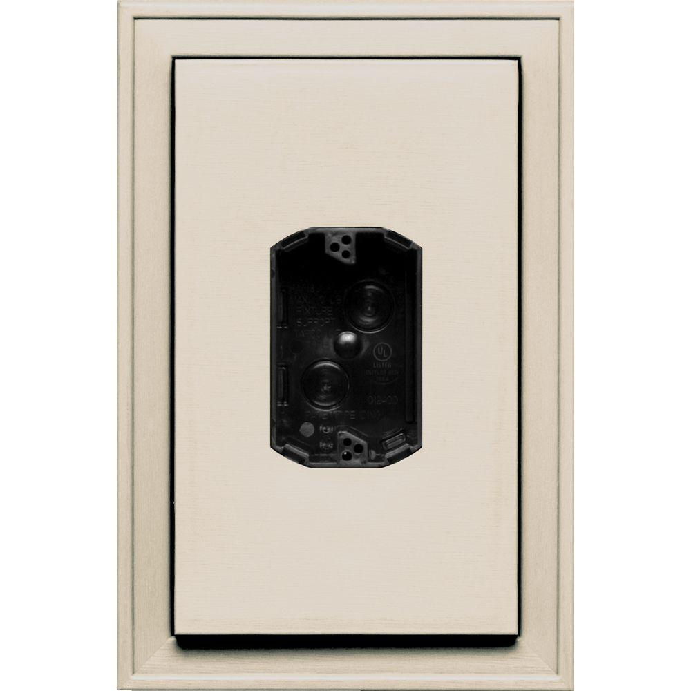 Builders Edge 8.125 in. x 12 in. #048 Almond Jumbo Electrical Mounting Block Centered