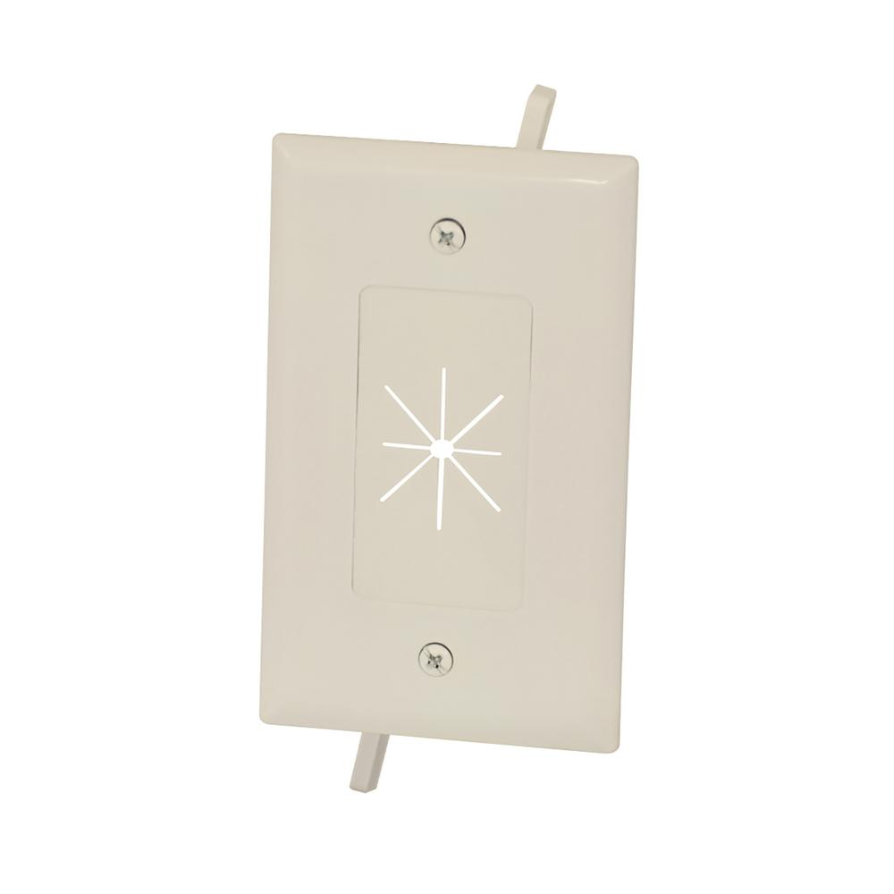 Nice Commercial Electric 1 Gang Flexible Opening Cable Wall Plate, Light Almond