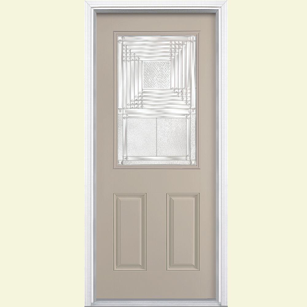 Masonite Rochelle Half Lite Painted Steel Prehung Front Door with Brickmold-DISCONTINUED