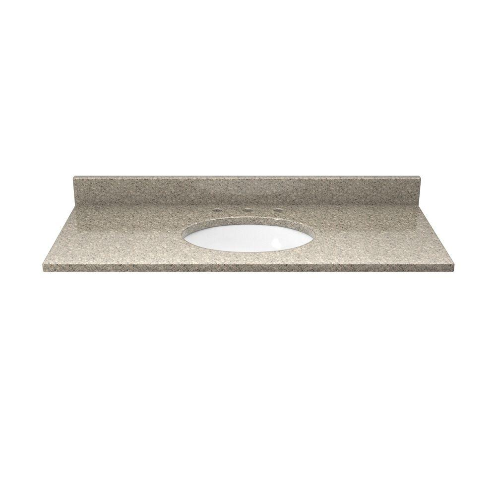 Solieque 37 in. Quartz Vanity Top in Sand Staccato with White Basin
