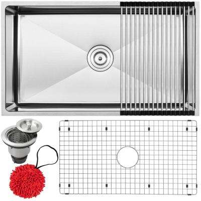 Pacific Undermount 16-Gauge Stainless Steel 31.25 in. Single Basin Kitchen Sink with Accessory Kit
