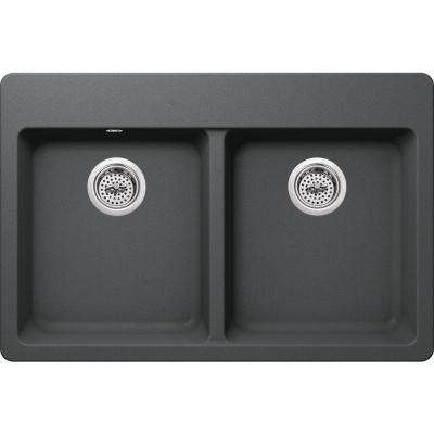 Drop-in Granite Composite 33 in. 4-Hole 50/50 Double Bowl Kitchen Sink in Grey