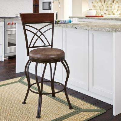 Jericho 26 in. Metal Bar Stool with Swivel Rustic Brown Bonded Leather Seat