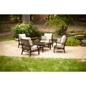 Amazing Hampton Bay Millstone 5 Piece Patio Fire Pit Set With Desert Sand  Cushions FCA65097RF ST   The Home Depot