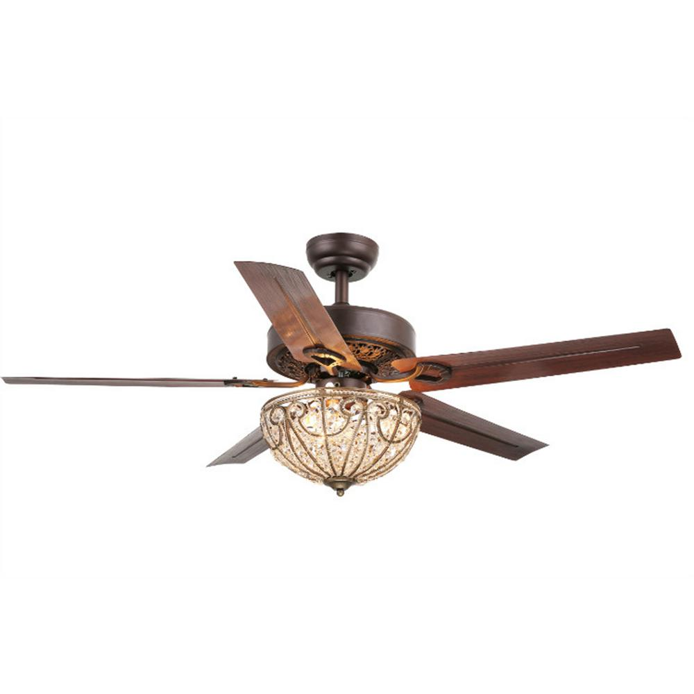 Standard Indoor Bronze 5 Blade Crystal Ceiling Fan