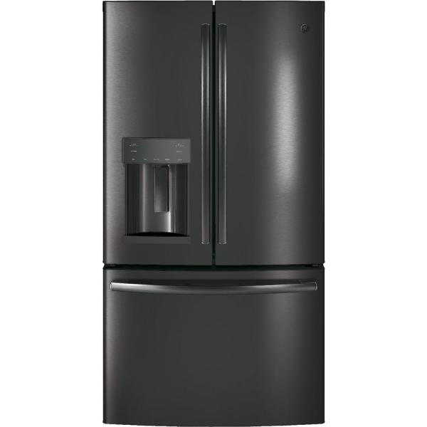 GE 25.6 cu. ft. French-Door Refrigerator in Black Stainless Steel, Fingerprint Resistant and ENERGY STAR