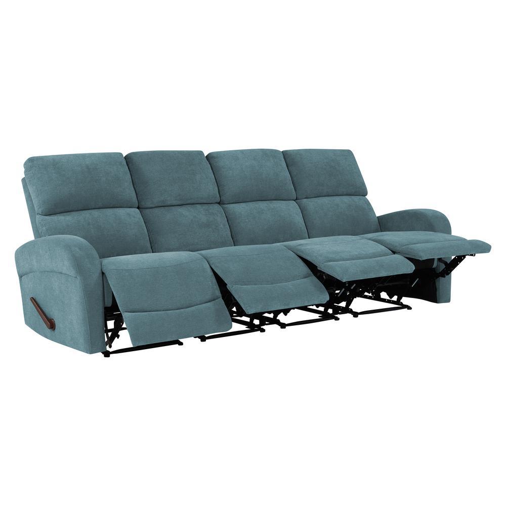 Caribbean Blue Chenille 4-Seat Recliner Sofa