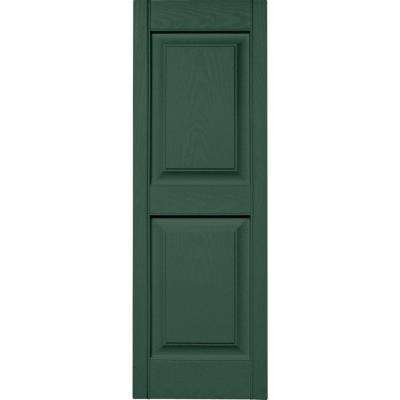 15 in. x 43 in. Raised Panel Vinyl Exterior Shutters Pair in #028 Forest Green