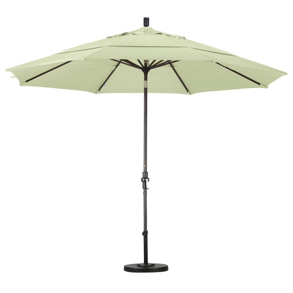 Charmant California Umbrella 11 Ft. Aluminum Collar Tilt Double Vented Patio Umbrella  In White Olefin