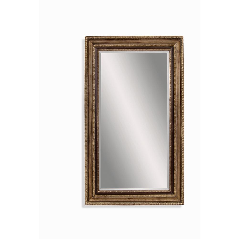 BASSETT MIRROR COMPANY Sergio Leaner Decorative Mirror The addition of a  leaner  mirror increases the apparent size and adds depth and dimensionality to a variety of environments. The Bassett Mirror M3105B features an all wood frame and a premium champagne and black finish with perimeter beveled mirror glass. The 50 in. x 86 in. size is intended to be a floor standing mirror that  leans  against a wall. Bassett Mirror's 75+ years as the worlds premier mirror manufacturer continues through their dedication to quality craftsmanship, their world class design studios, and the unmatched value offered in their products.
