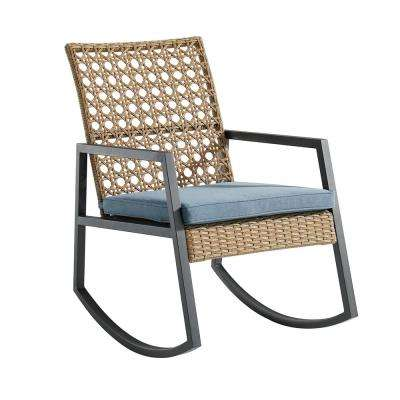 Light Brown Rattan Modern Patio Rocking Chair with Blue Cushion