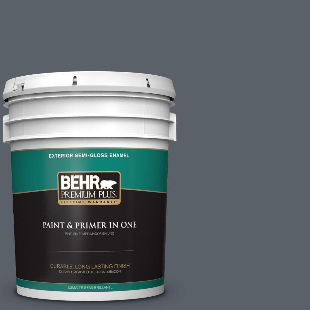 5-gal. #HDC-AC-25 Blue Metal Semi-Gloss Enamel Exterior Paint