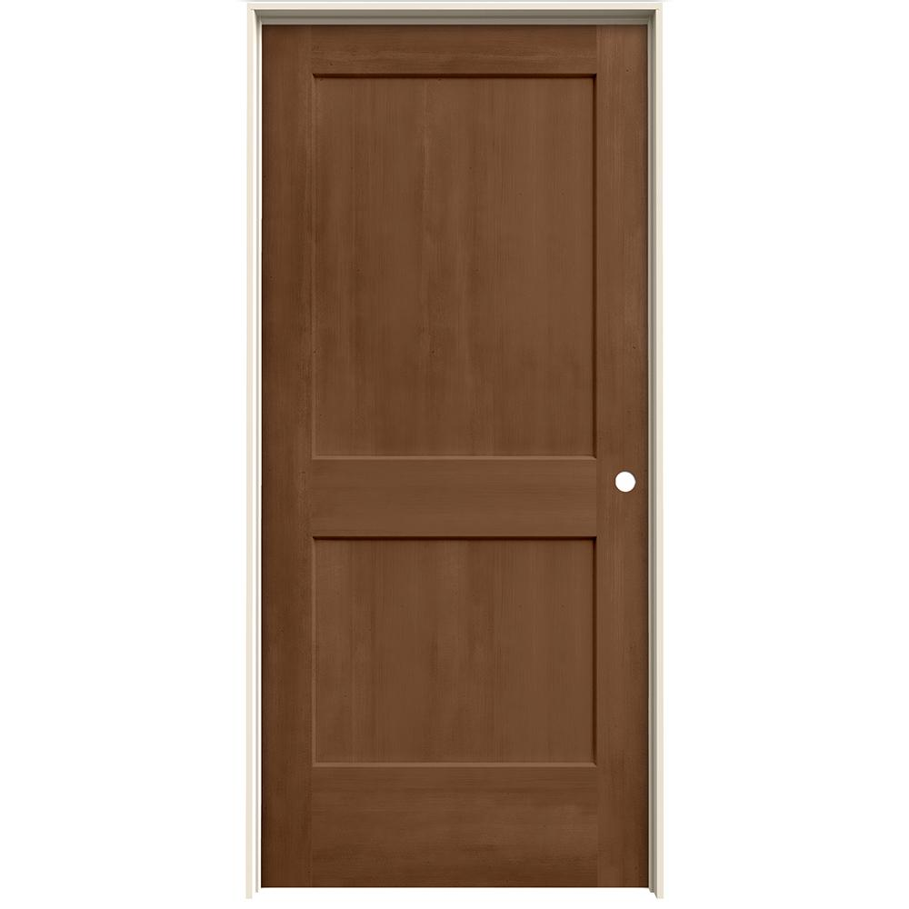 Jeld wen 36 in x 80 in monroe hazelnut stain left hand for Prehung interior doors