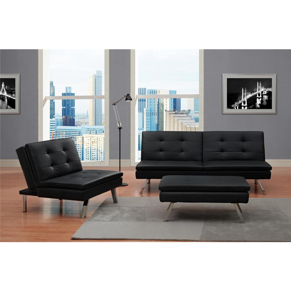 Dhp Chelsea Black Accent Ottoman 2033009 The Home Depot