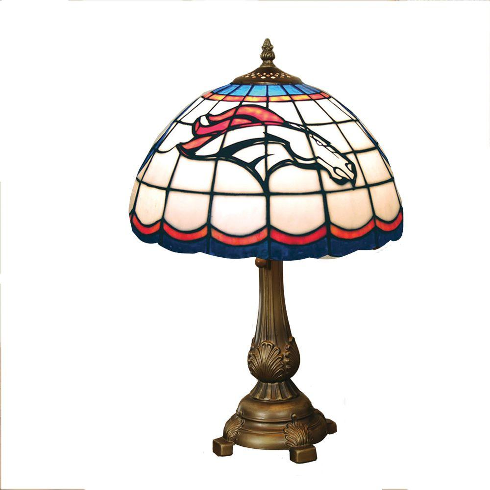 The Memory Company NFL Denver Broncos Stained Glass Tiffany Table Lamp-DISCONTINUED