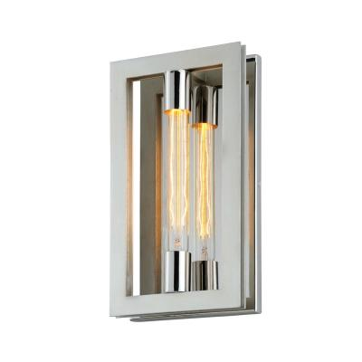 Enigma 1-Light Silver Leaf with Stainless Accents Wall Sconce