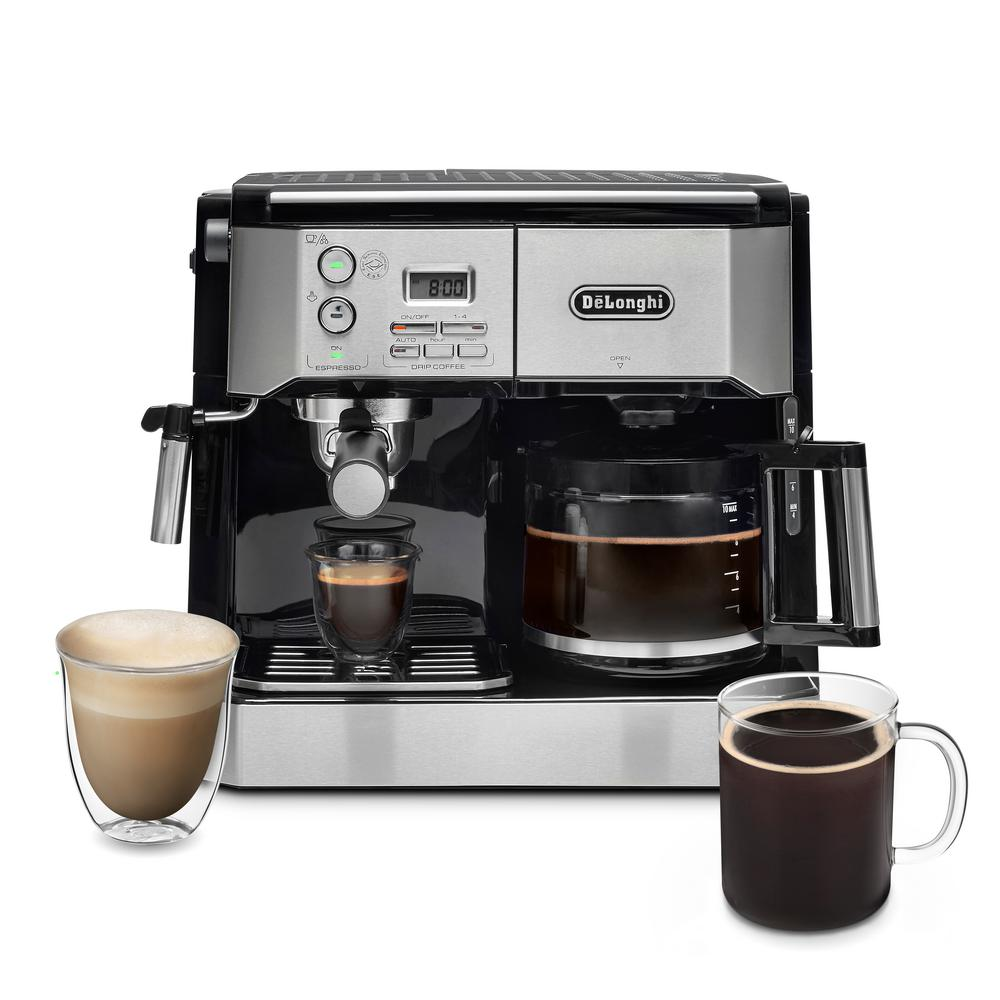 2d643162911 DeLonghi All-In-One Pump Espresso and 10-Cup Drip Coffee Machine with  Advanced Cappuccino System BCO430T - The Home Depot