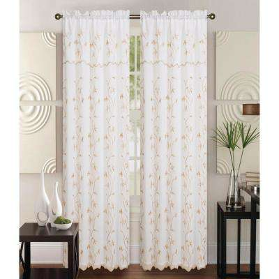 Alma Beige/Gold 55 in. L Rod Pocket Curtain Panel