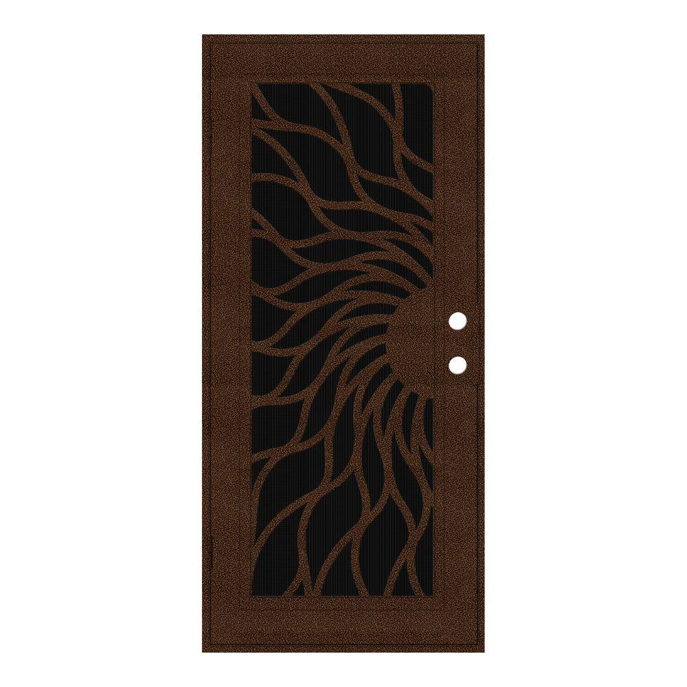 Unique Home Designs 36 in. x 80 in. Sunfire Copperclad Left-Hand Outswing Surface Mount Aluminum Security Door with Charcoal Insect Screen