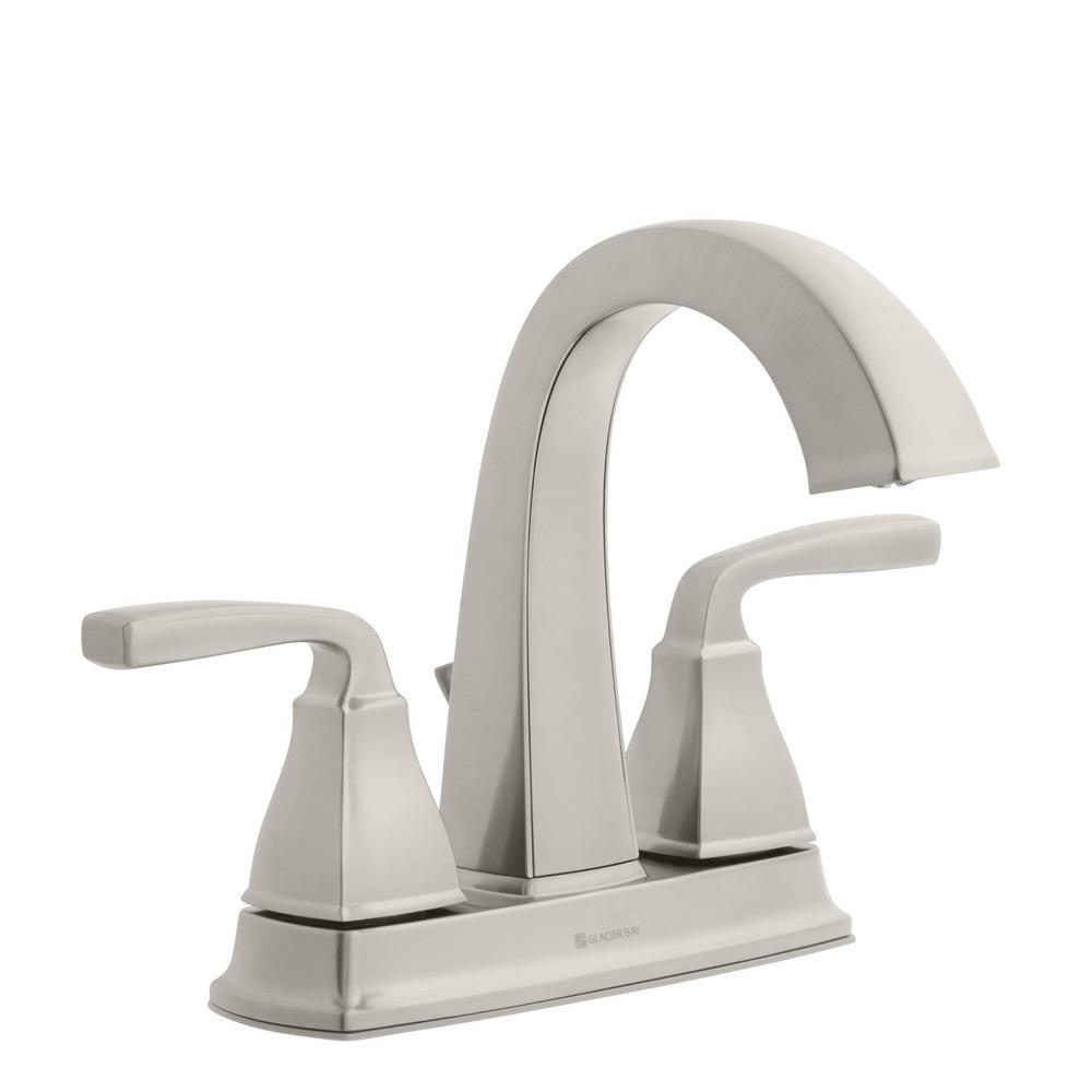 Glacier Bay Mason 4 in. Centerset 2-Handle High-Arc Bathroom Faucet in Brushed Nickel was $109.0 now $59.0 (46.0% off)