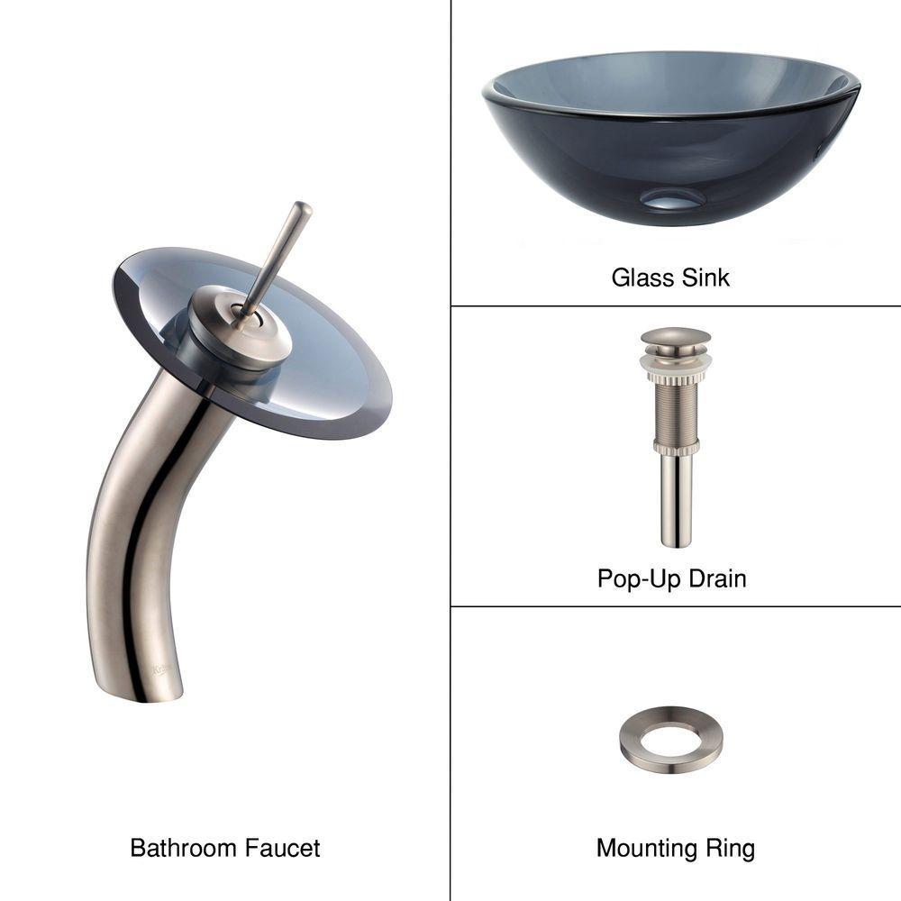 KRAUS Glass Vessel Sink in Black with Single Hole Single-Handle Low-Arc Waterfall Faucet in Satin Nickel