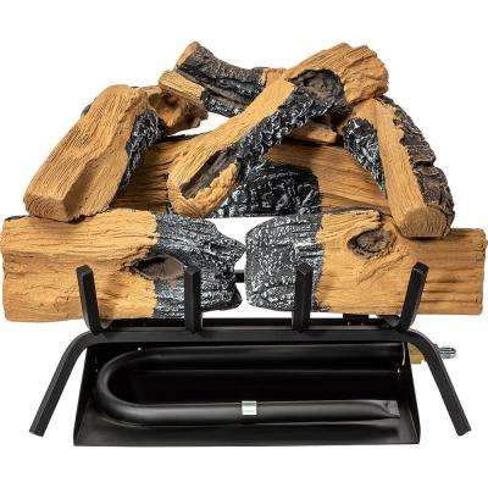 18 in. Vented Natural Gas Flame Burner Ember Glowing Fireplace Logs Set, 45,000 BTU