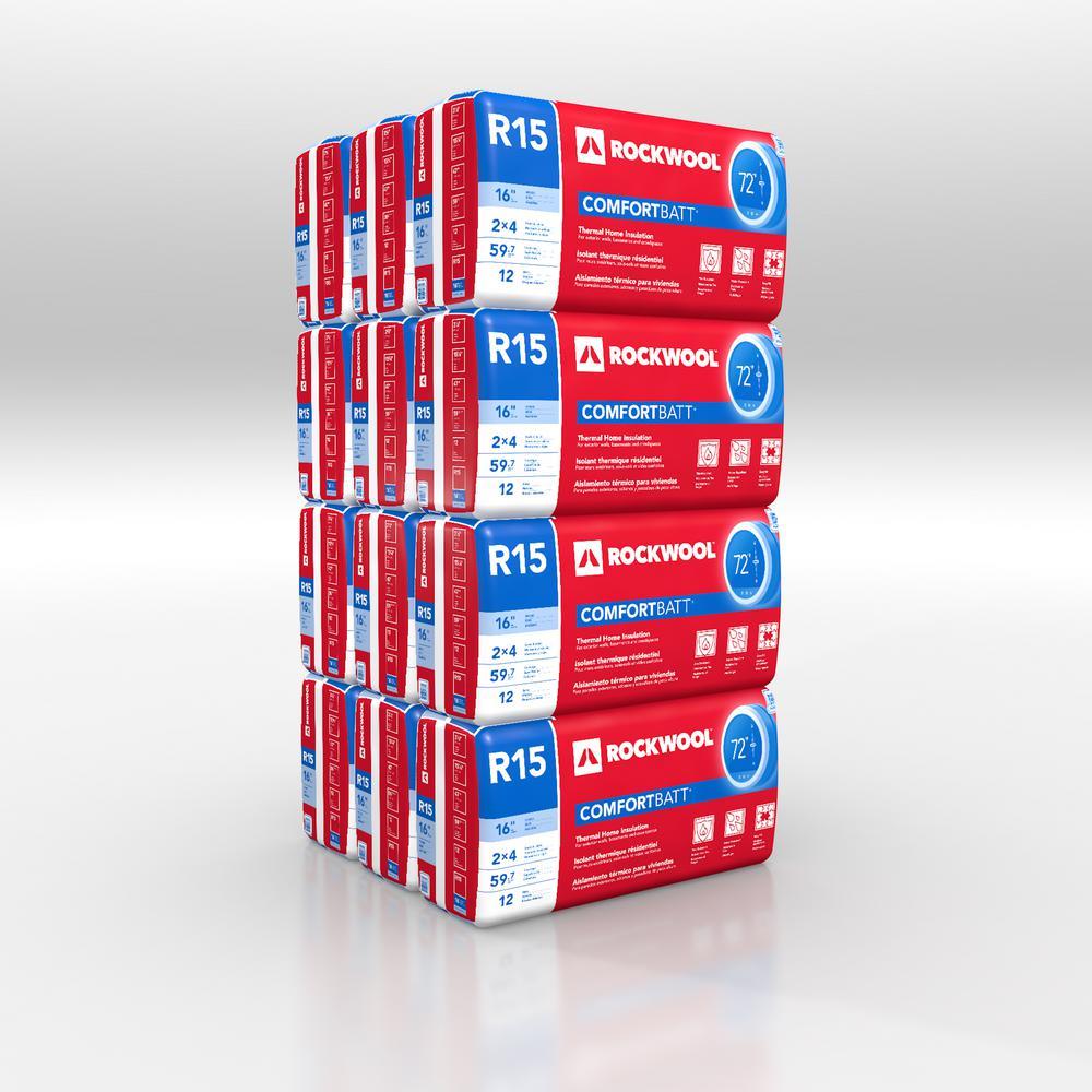 ROCKWOOL R-15 ComfortBatt Fire Resistant Stone Wool Insulation Batt 15 in. x 47 in. (12-Bags)