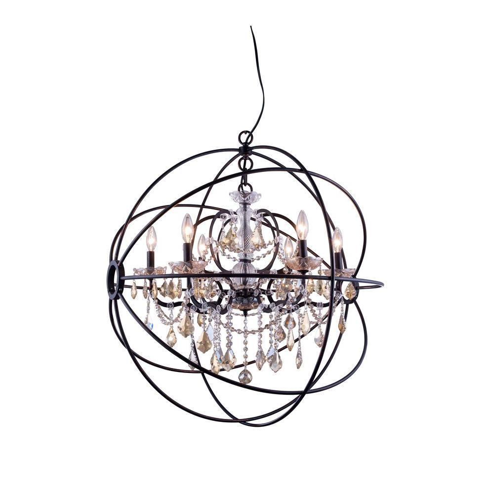 Elegant lighting geneva 6 light dark bronze chandelier with clear geneva 6 light dark bronze chandelier with golden teak smoky crystal arubaitofo Choice Image