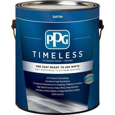 1 gal. White Satin Exterior Ready to Use One-Coat Paint with Primer