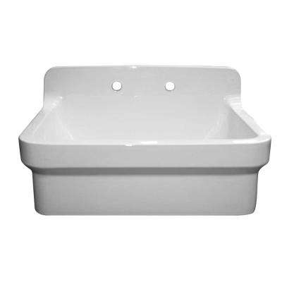 Old Fashioned Country Farmhouse Apron Front Fireclay 30 in. 2-Hole Single Bowl Kitchen Sink in White