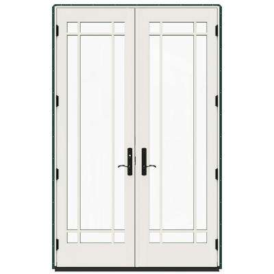 60 in. x 96 in. W-4500 Green Clad Wood Right-Hand 9 Lite French Patio Door w/White Paint Interior