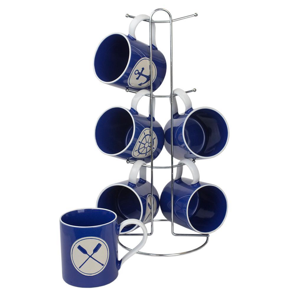 Nautical 6-Piece Navy Mug Set