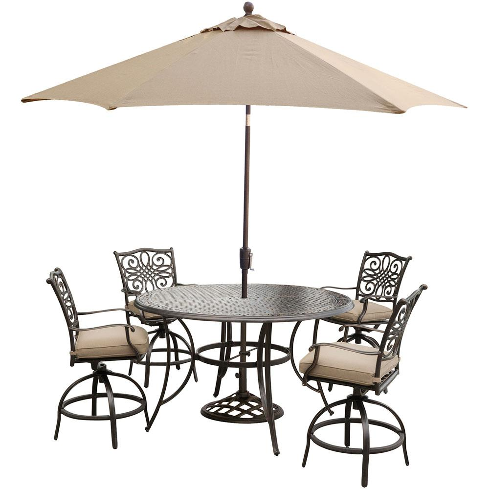 Hanover Traditions 5-Piece Round Outdoor Bar H8 Dining Set with ...