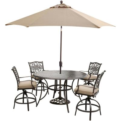 Traditions 5-Piece Aluminum Round Outdoor High Dining Set with Swivel Chairs, Umbrella and Base w/ Natural Oat Cushions