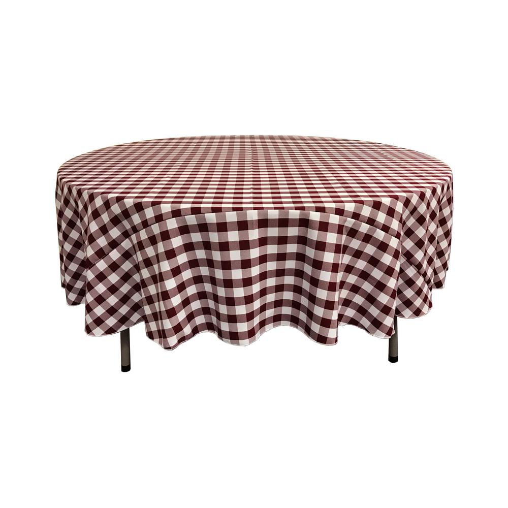 good Checkered Tablecloths Part - 5: White and Burgundy Polyester Gingham Checkered Round Tablecloth