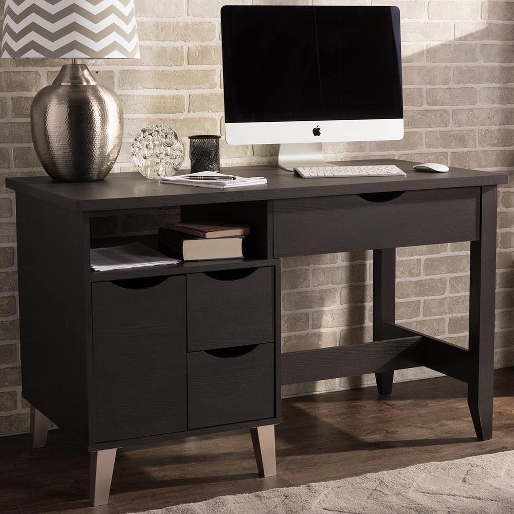 Baxton Studio Mckenzie Contemporary Dark Brown Finished Wood Desk 28862-6471-HD