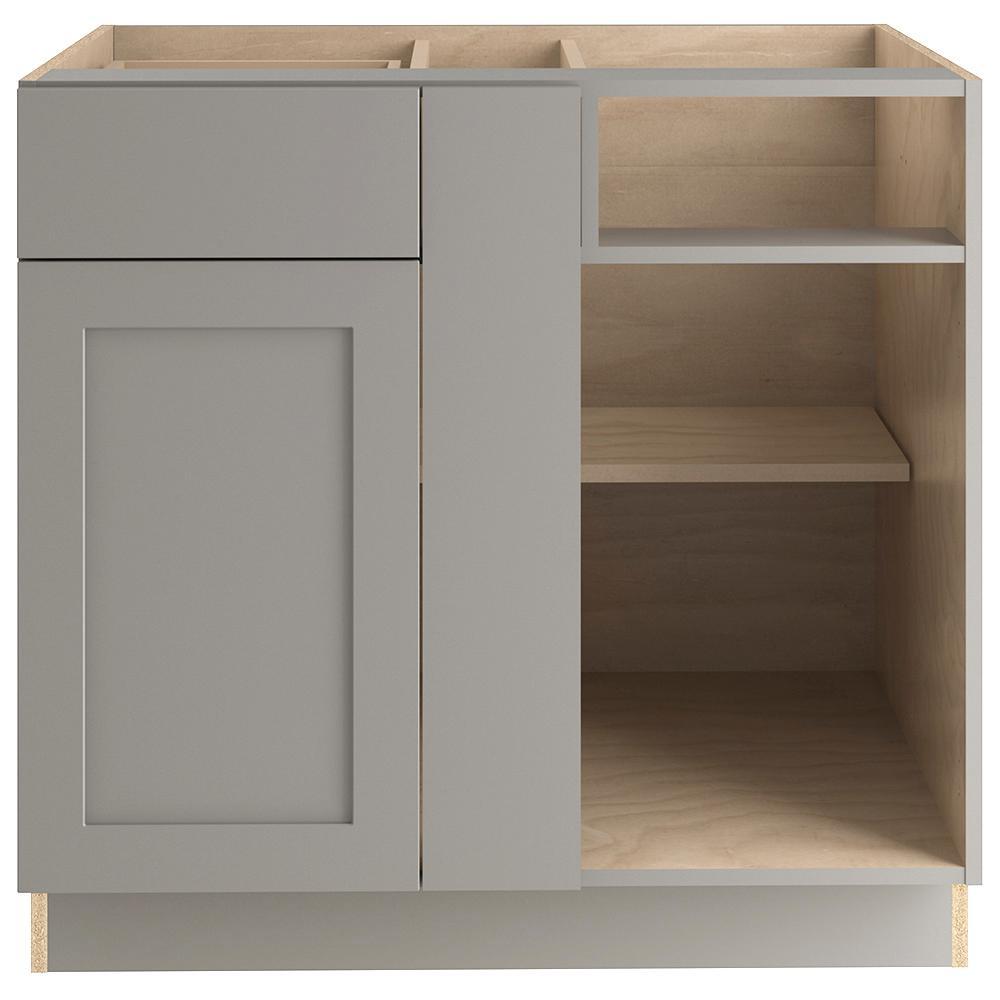 Cambridge Assembled 35.98x34.49x21.51 in. Blind Base Corner Cabinet in Gray
