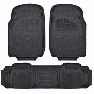 BDK All Weather MT-713 Black Heavy Duty 3-Piece Car or SUV or Truck Floor Mats by BDK