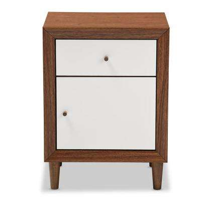 Harlow 1 Drawer White And Medium Brown Wood Nightstand