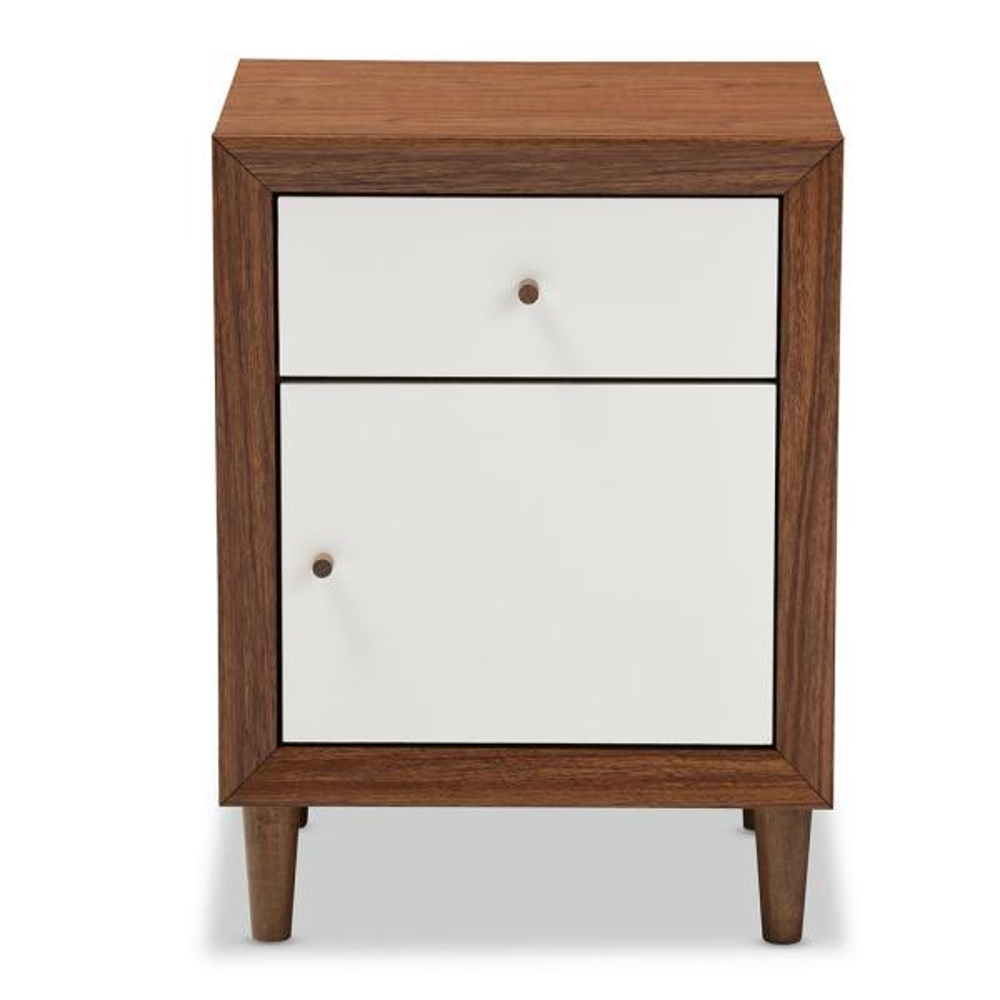Baxton Studio Harlow 1-Drawer White and Medium Brown Wood Nightstand