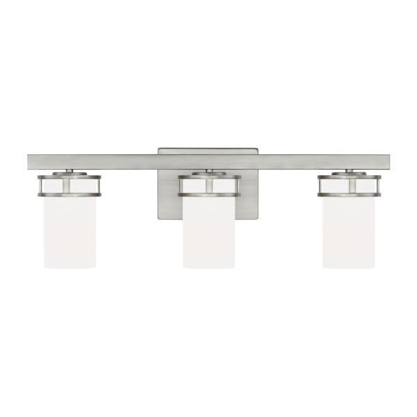 Robie 24 in. 3-Light Brushed Nickel Vanity Light with Etched White Inside Glass Shades