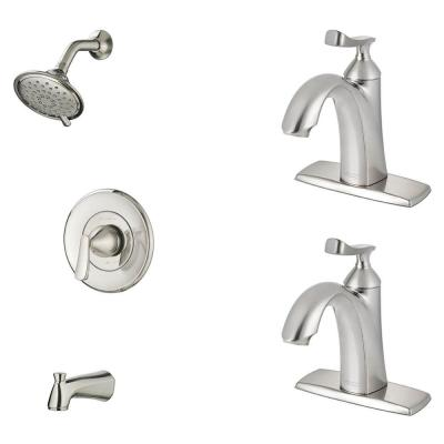 Chatfield Single-Handle 3-Spray Tub and Shower Faucet and Two Single Hole Bathroom Faucets Set in Brushed Nickel