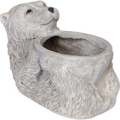 10 in. Bear Cement Accent Planter