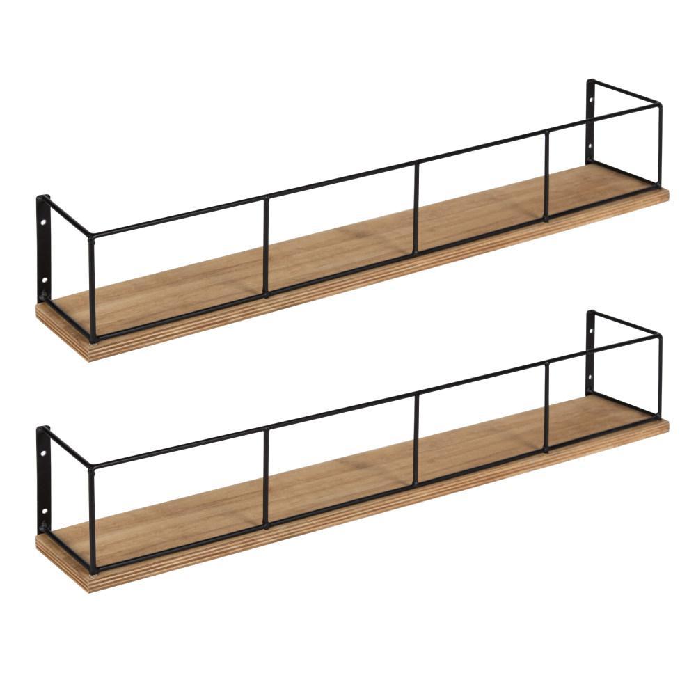 Benbrook 4 in. x 24 in. x 4 in. Rustic Brown/Black Wood Decorative Wall Shelf