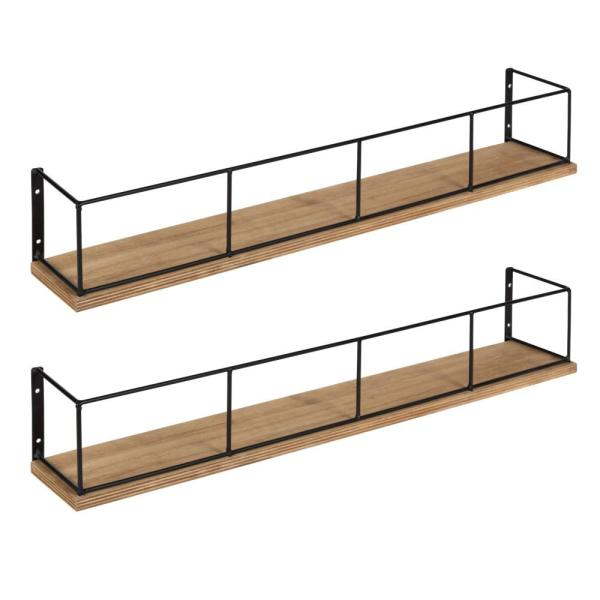 Kate and Laurel Benbrook 4 in. x 24 in. x 4 in. Rustic Brown/Black Wood Decorative Wall Shelf