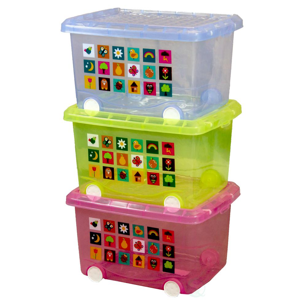 Basicwise Large Storage Containers with Wheels (Set of 3 )